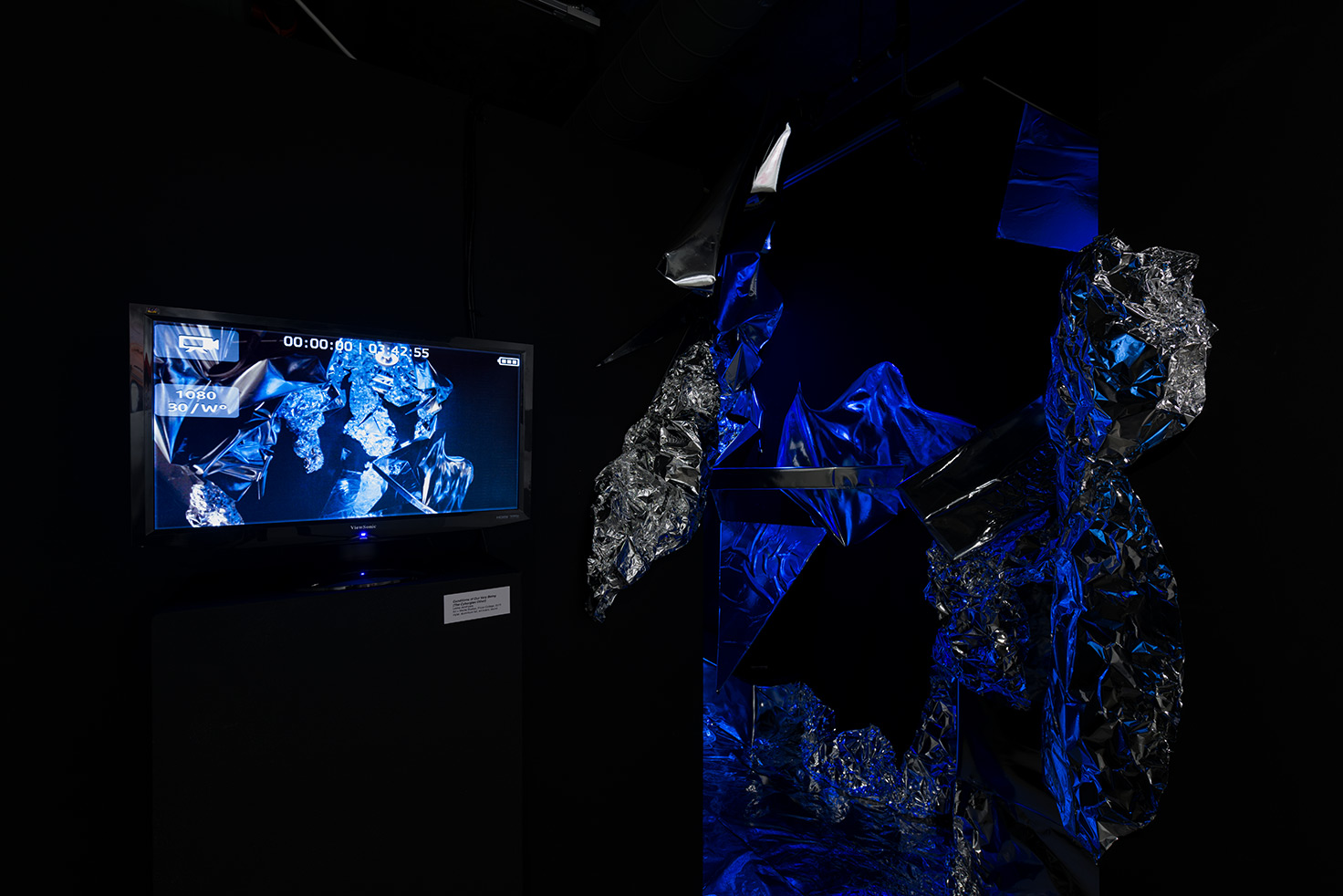 Lekha Jandhyala   Cyborgian Other   (2016)   Mylar, live-stream video, sound, and light.