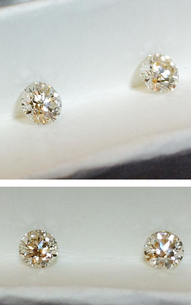 The diamond on the right hand side sparkles more than the one on left.