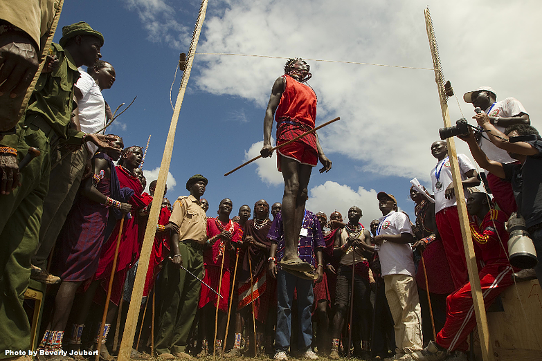 A Maasai jumper, exemplifying beautifully the amount of energy the elastic body can store and then, importantly,  release .