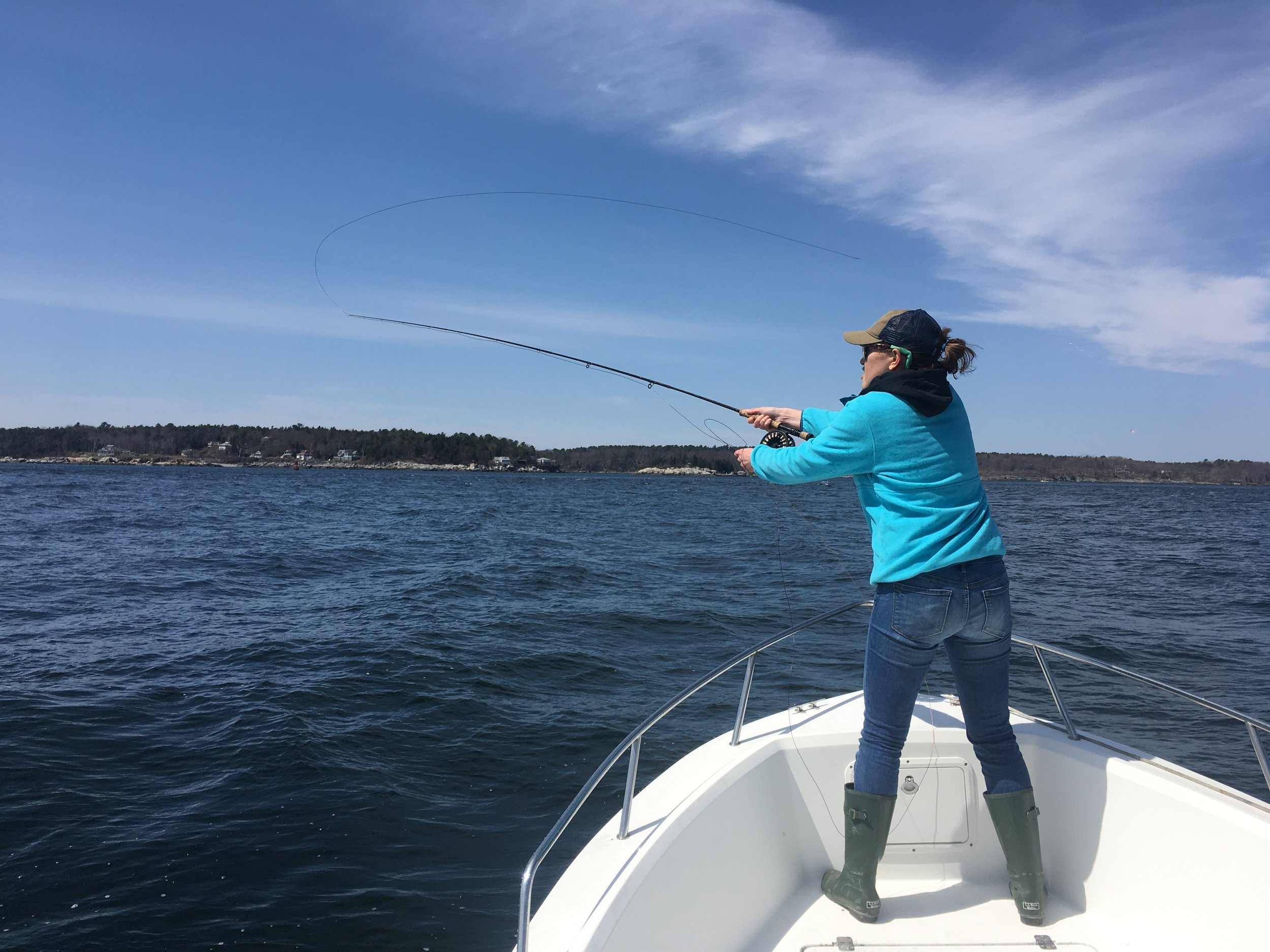 Sarah looking for some early season fish on the Aquasport in Hussey Sound.