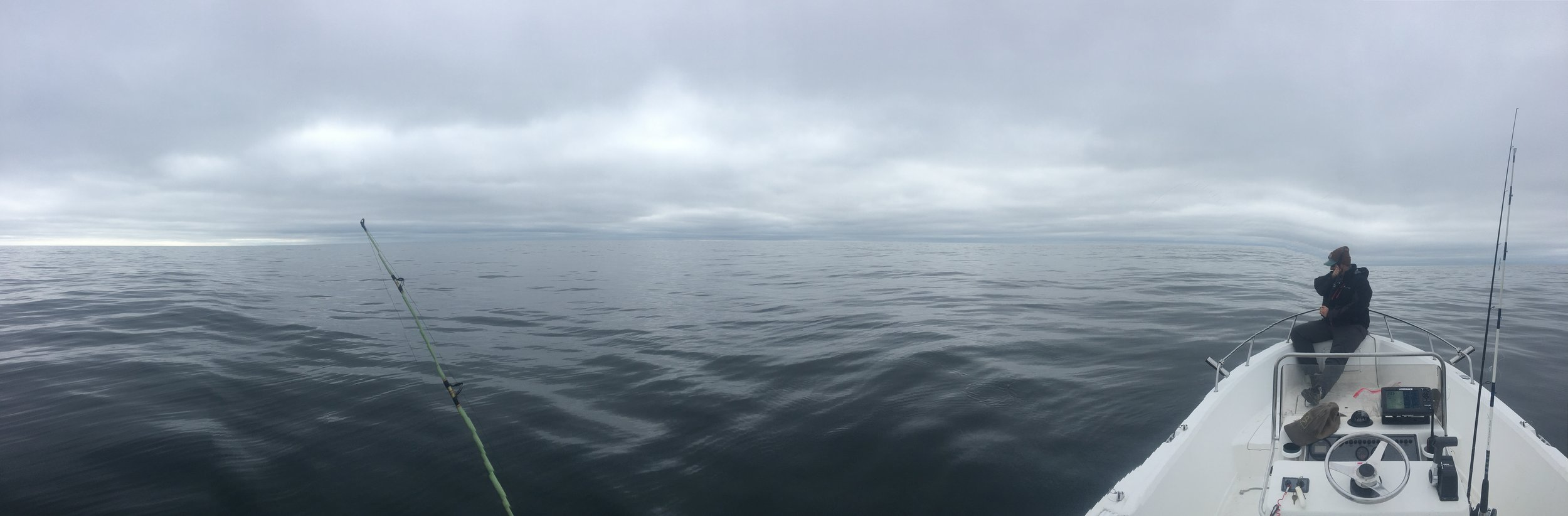 The day was gray, with both sea and sky exhibiting a greasy calm in the morning.