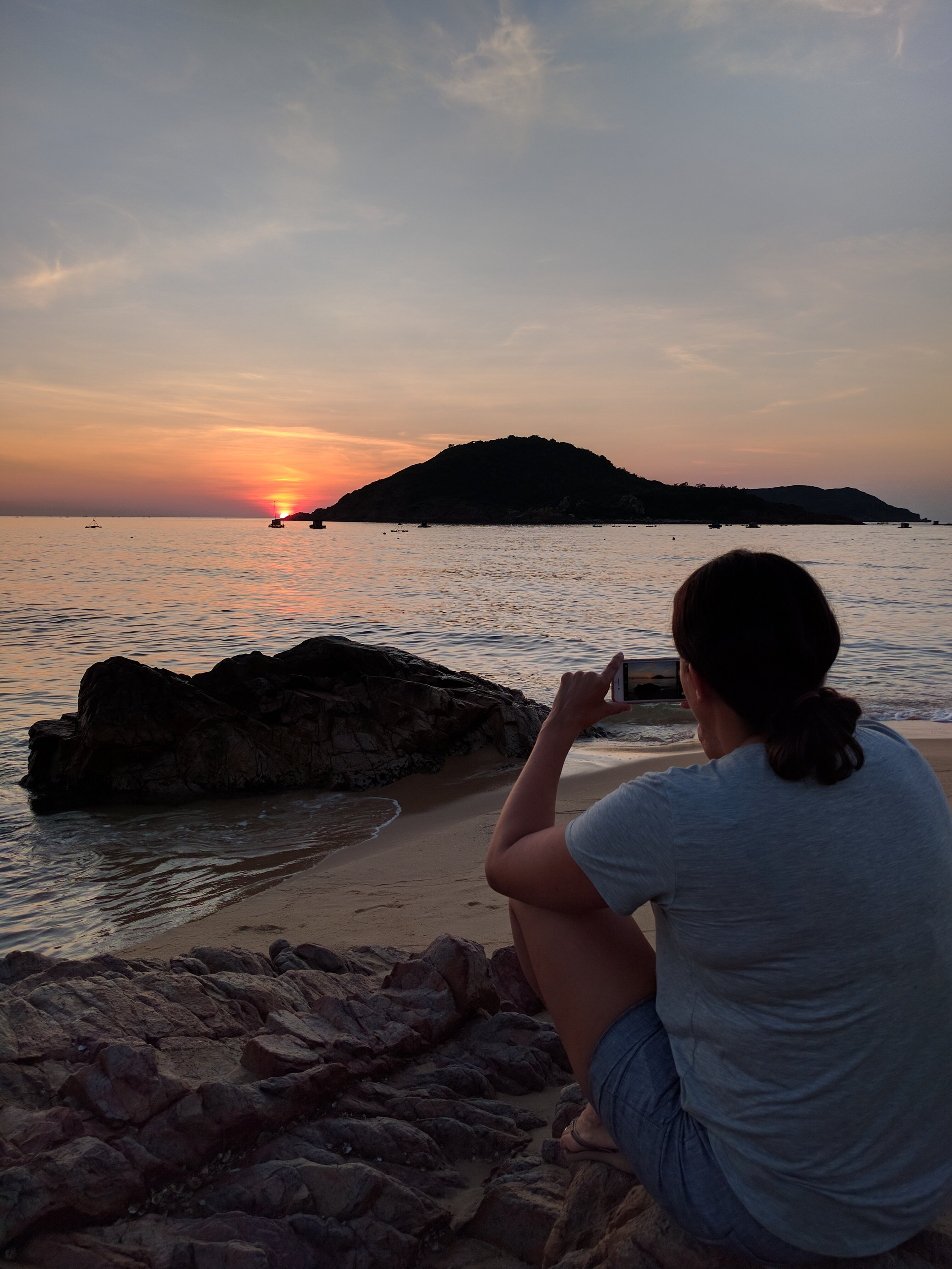 Nicole capturing a sunrise