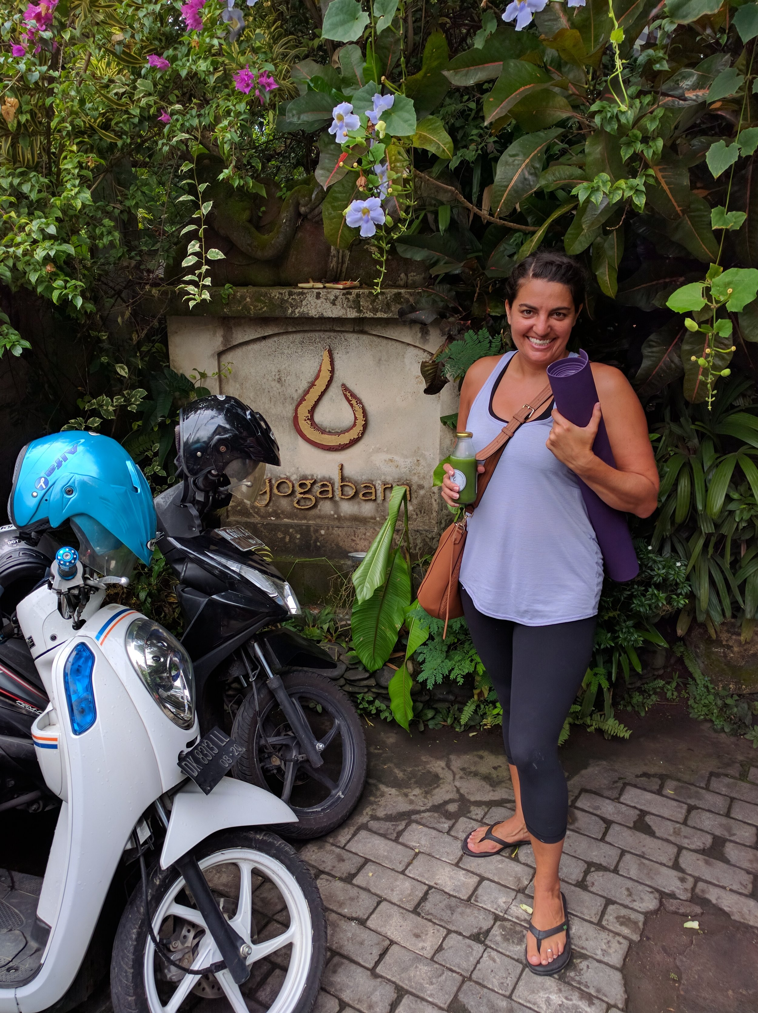 "After yoga at the Yoga Barn -- Our rental white rental scooter ""Scoopy"" is in the foreground"