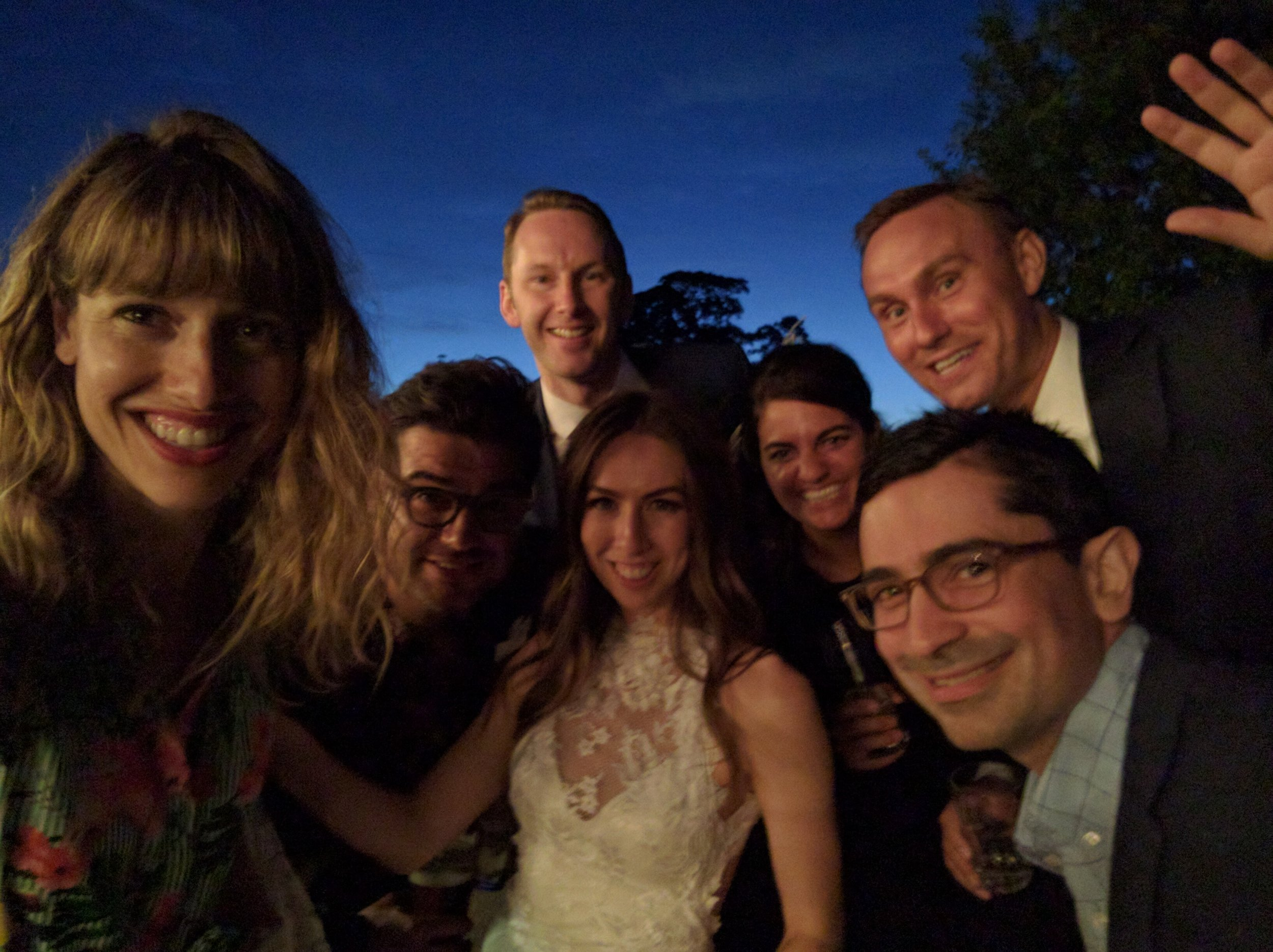 Wedding selfie! Nicole and Matteo, the bride and groom, Nicole and I, and Serban (who got to sleep inside the George and Dragon that night)
