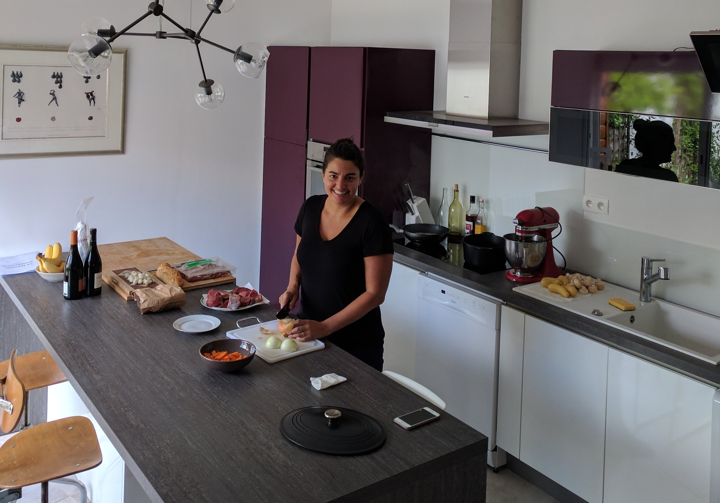 Nicole prepping Beef Bourguignon at our Airbnb in Beaune