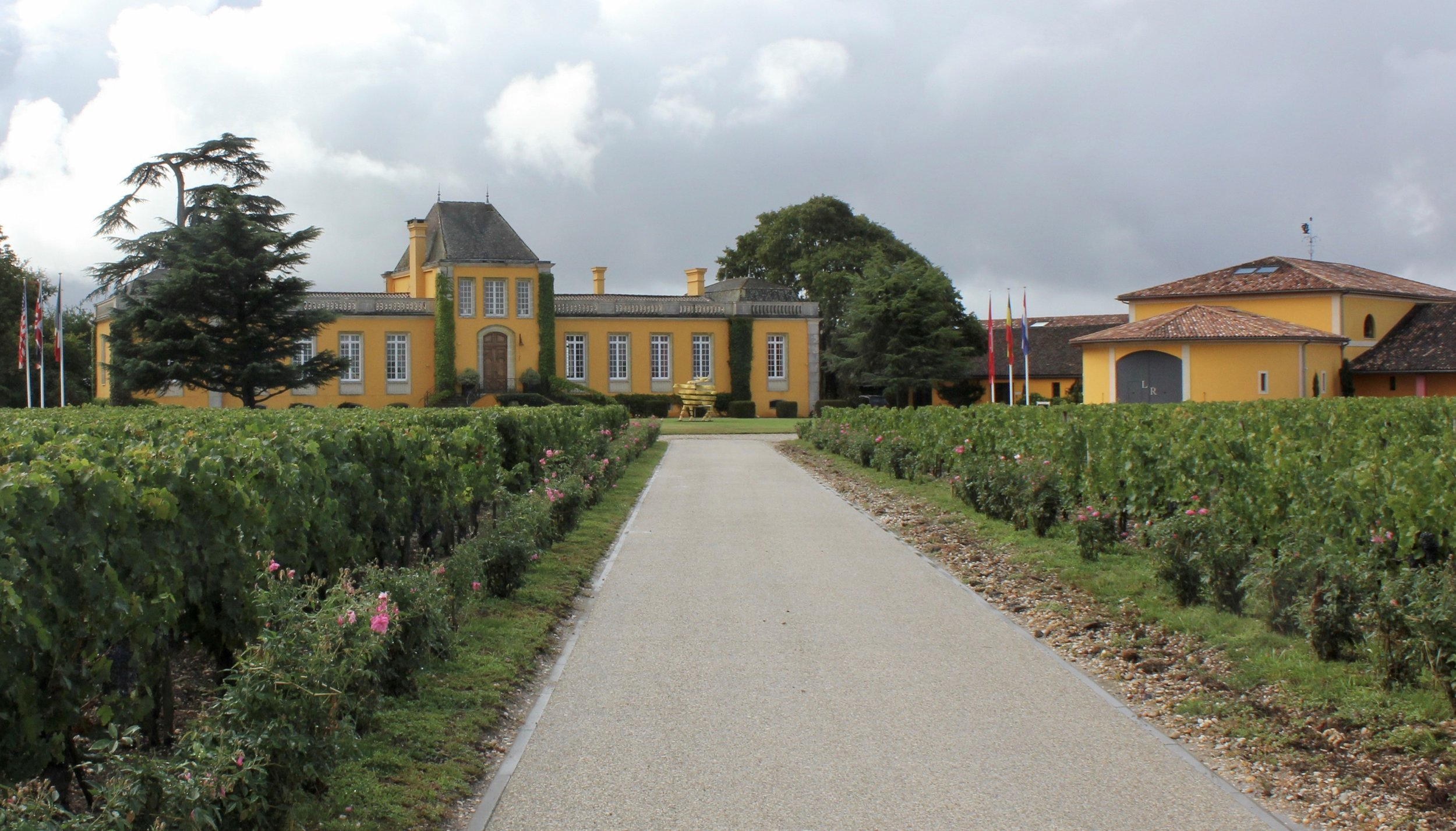 -    The driveway to Chateau Lafon-Rochet -- During 2000, the owners repainted the chateau and winery to its current yellow color.