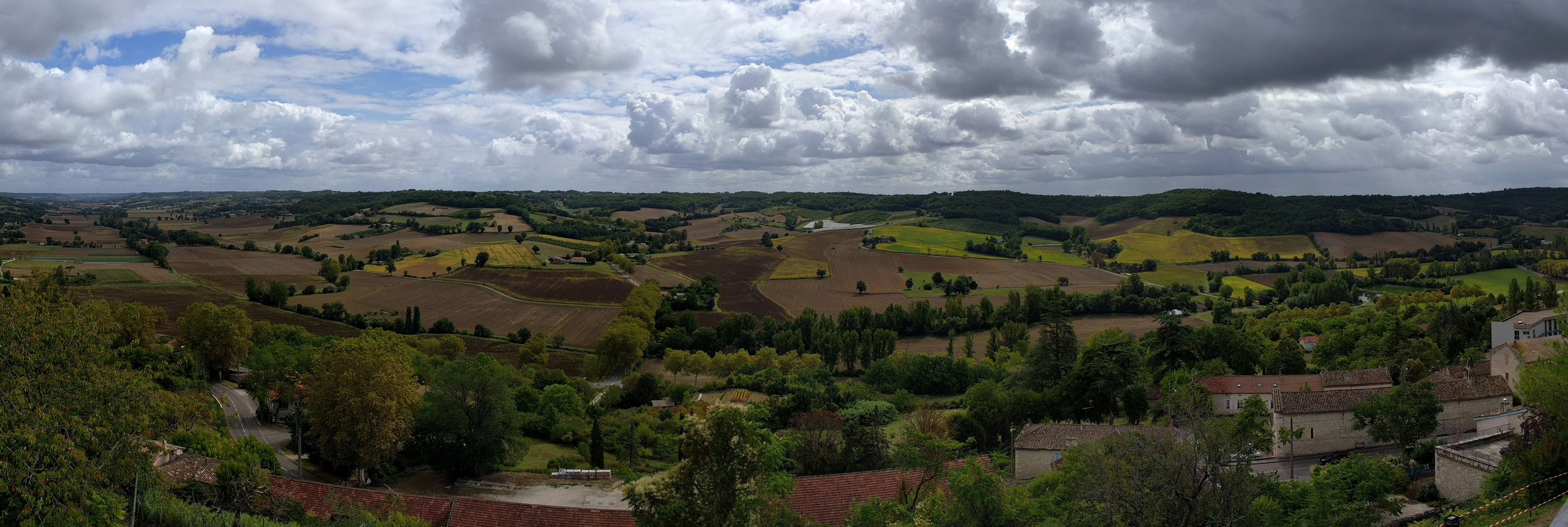 Cahors' hilly, farm studded landscape; Photo taken from the village of Lauzerte