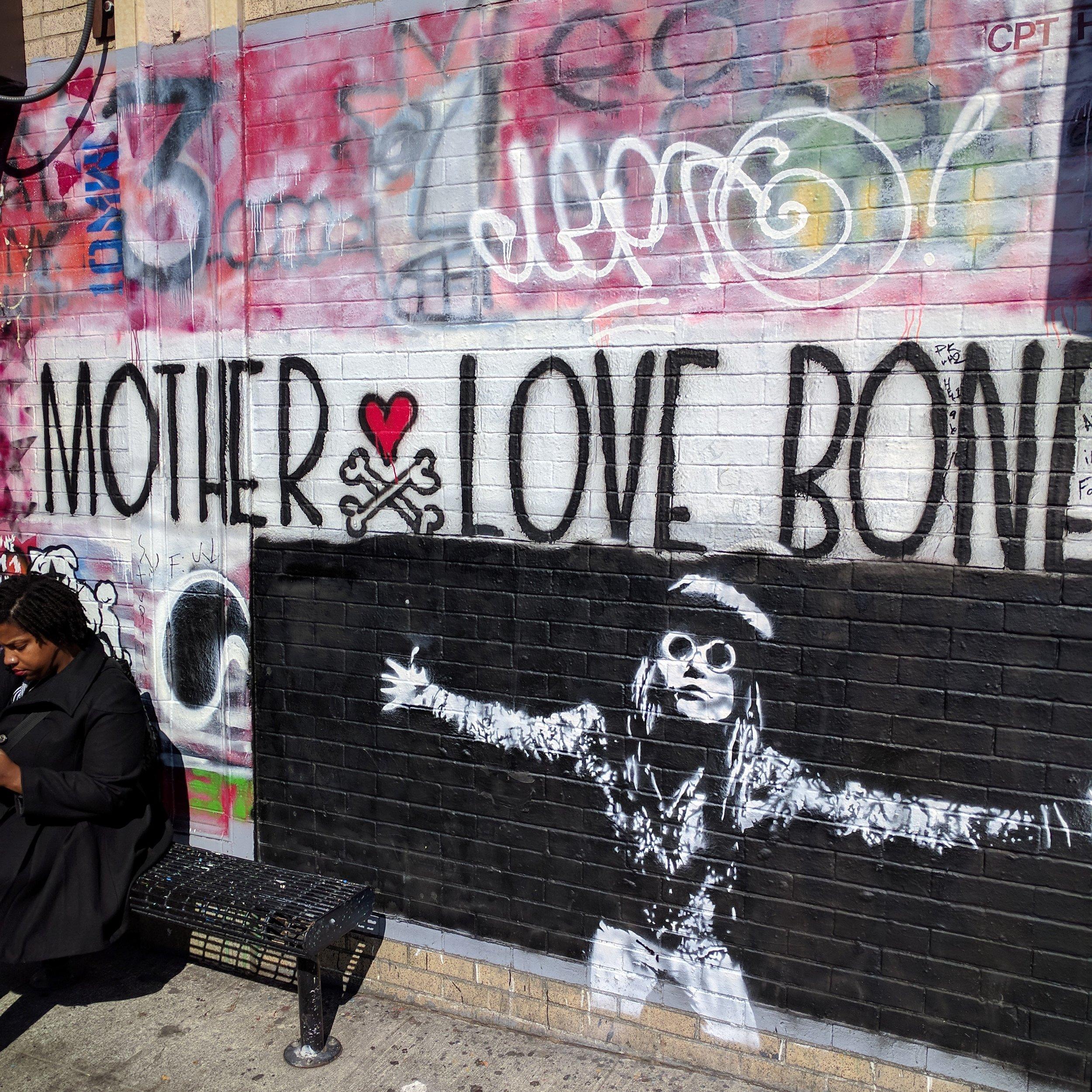 Mother Love Bone (Pearl Jam precursor band) mural outside of Easy Street