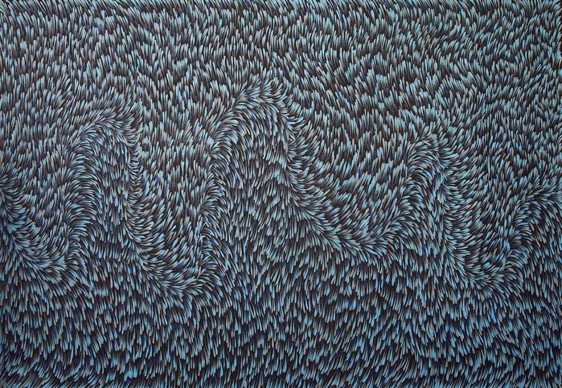 Gloria Petyarre, Bush Medicine Leaves, Acrylic on Linen, 204 x 139 cm.