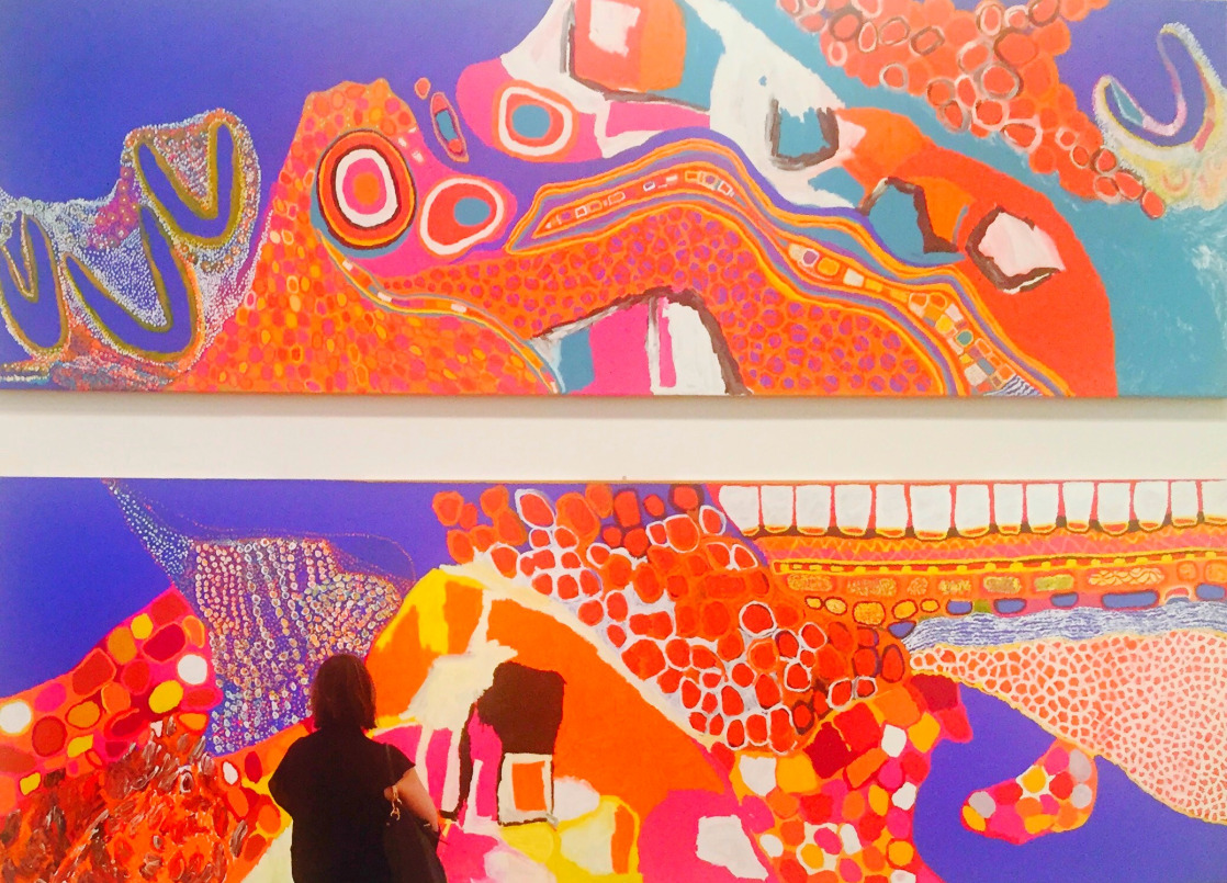Sally Gabori, DulkaWarngiid, 2007, Synthetic Polymer Paint on Canvas, 195 x 610cm. Courtesy of National Gallery of Victoria.