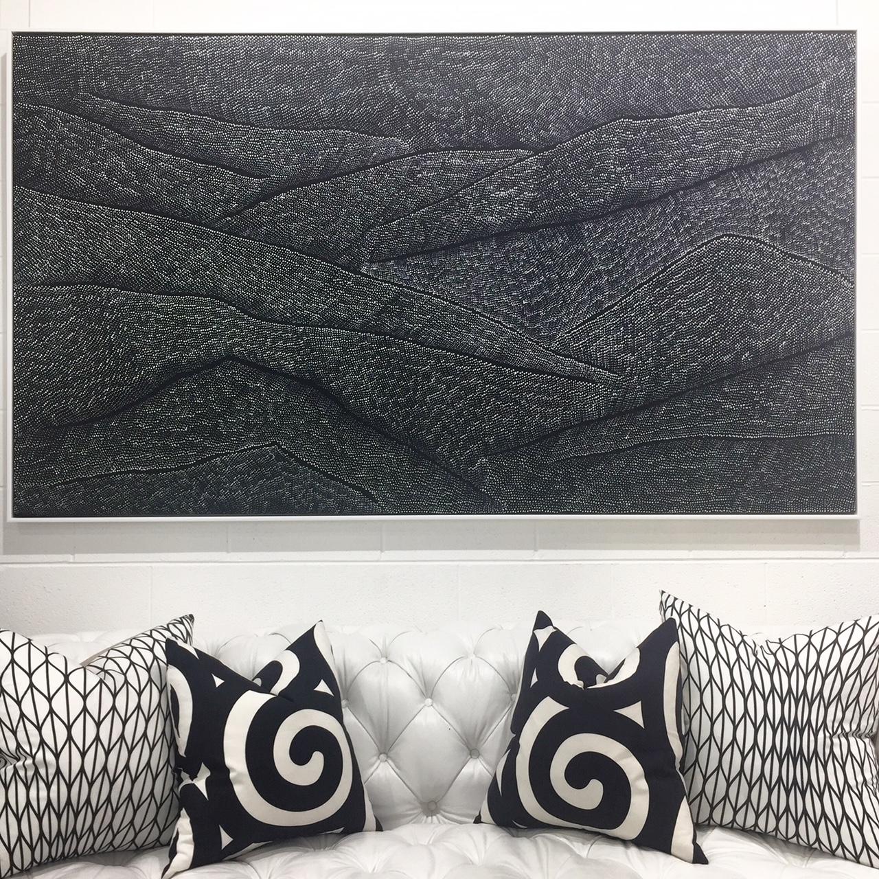 Above: Lily Kelly Napangati,  Tuli Tuli (Sand Dunes)  2017, Acrylic Paint on Linen, 122 x 212cm, P.O.A