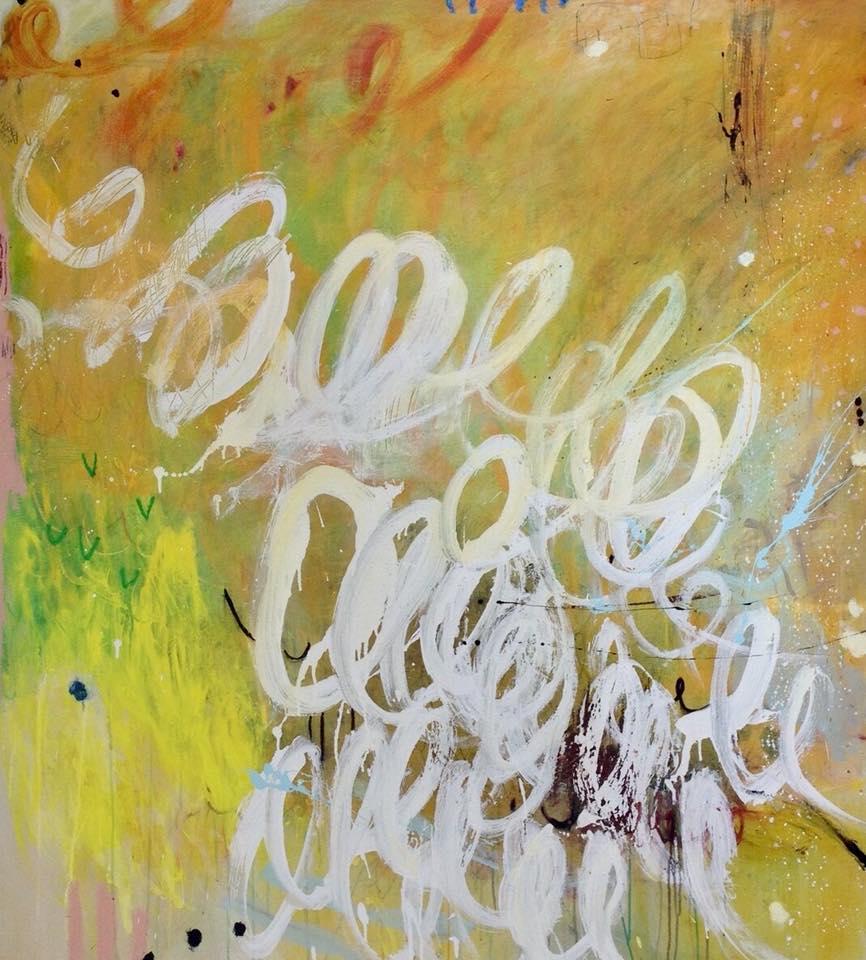 Above: Michelle Breton,  Trompette au Soleil , 2017, Mixed Media on Canvas, 153 x 137cm, $9,900