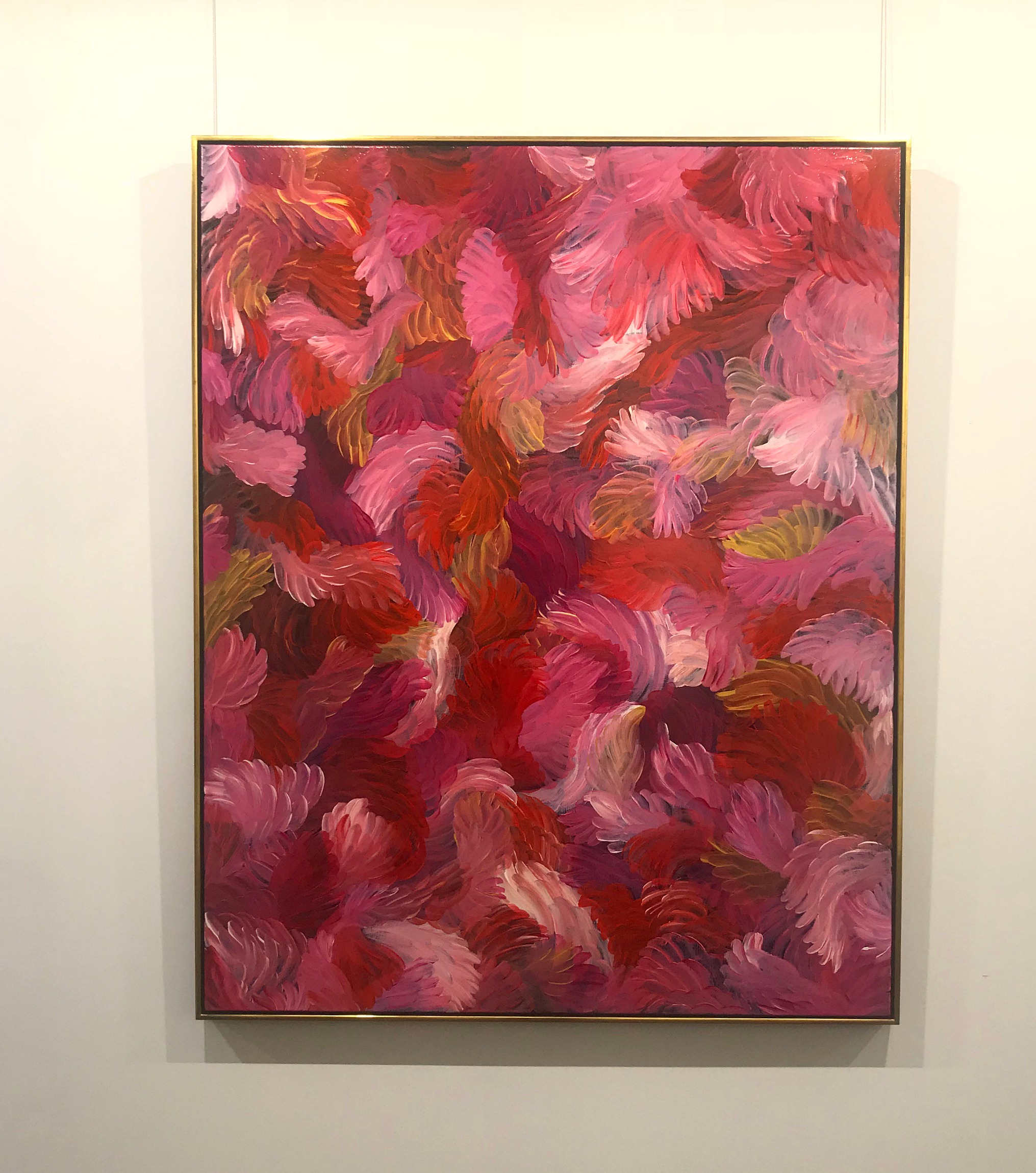 Above: Thierry B.  La Vie En Rose , 2018, Synthetic Polymer Paint on Linen, 152 x 122cm, custom-framed in water-gilded, 18-carat gold, $15,000