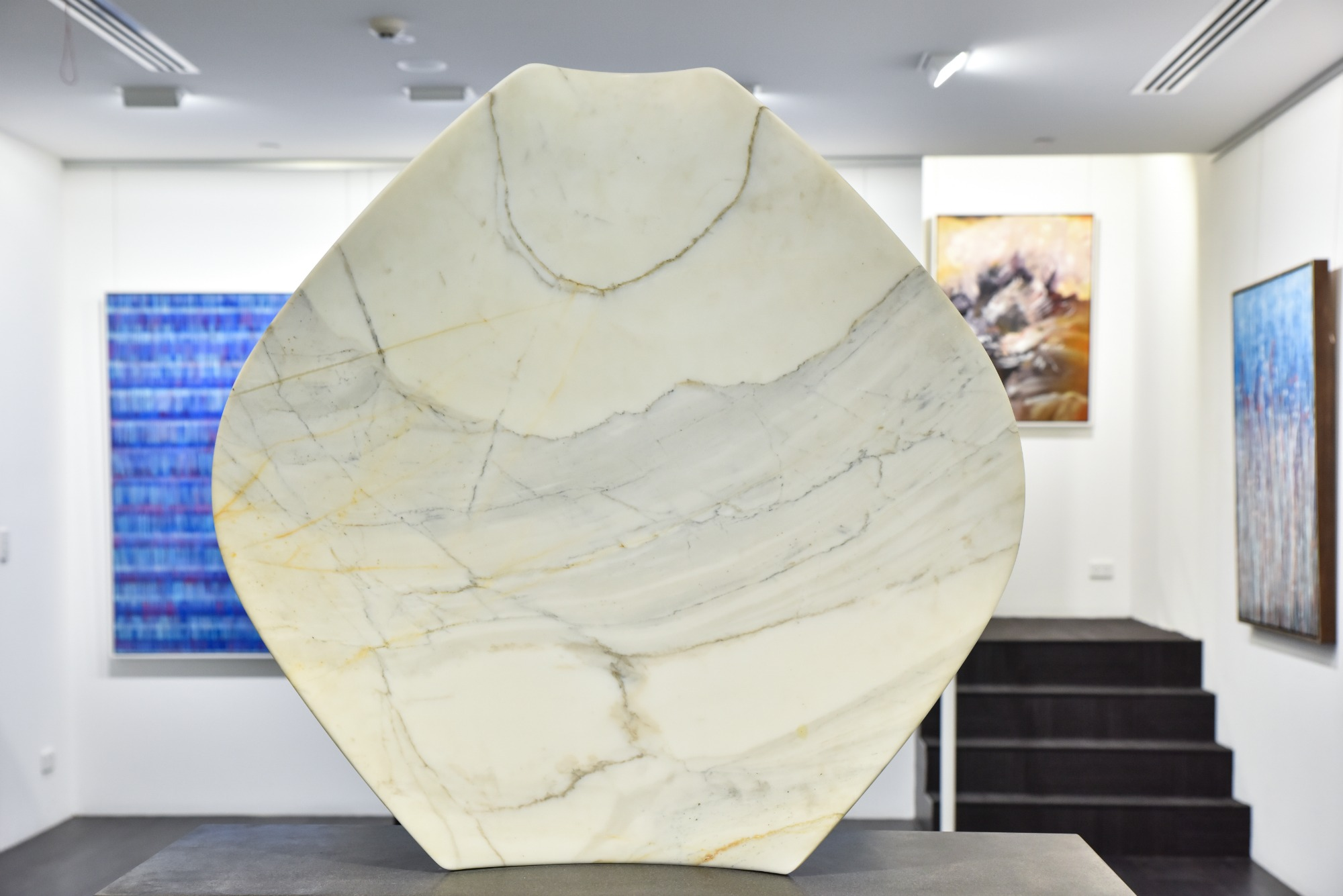 Above: Sculpture by Jane Valentine,  Shielding II , 2014, Stauario Marble on granite base, 100 (h) x 90 (w) x 25 (d)cm, P.O.A