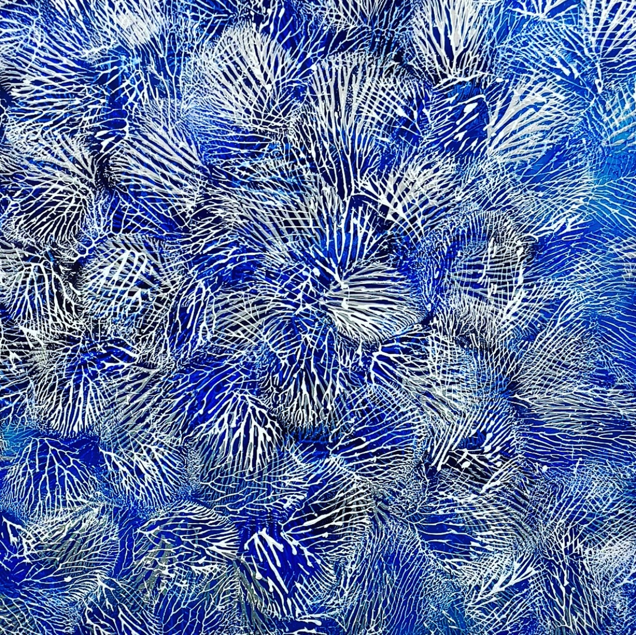 Above: Thierry B.,  The Deep Blue , Coral Series, 2018, Synthetic Polymer Paint on Linen, 183 x 183cm, P.O.A