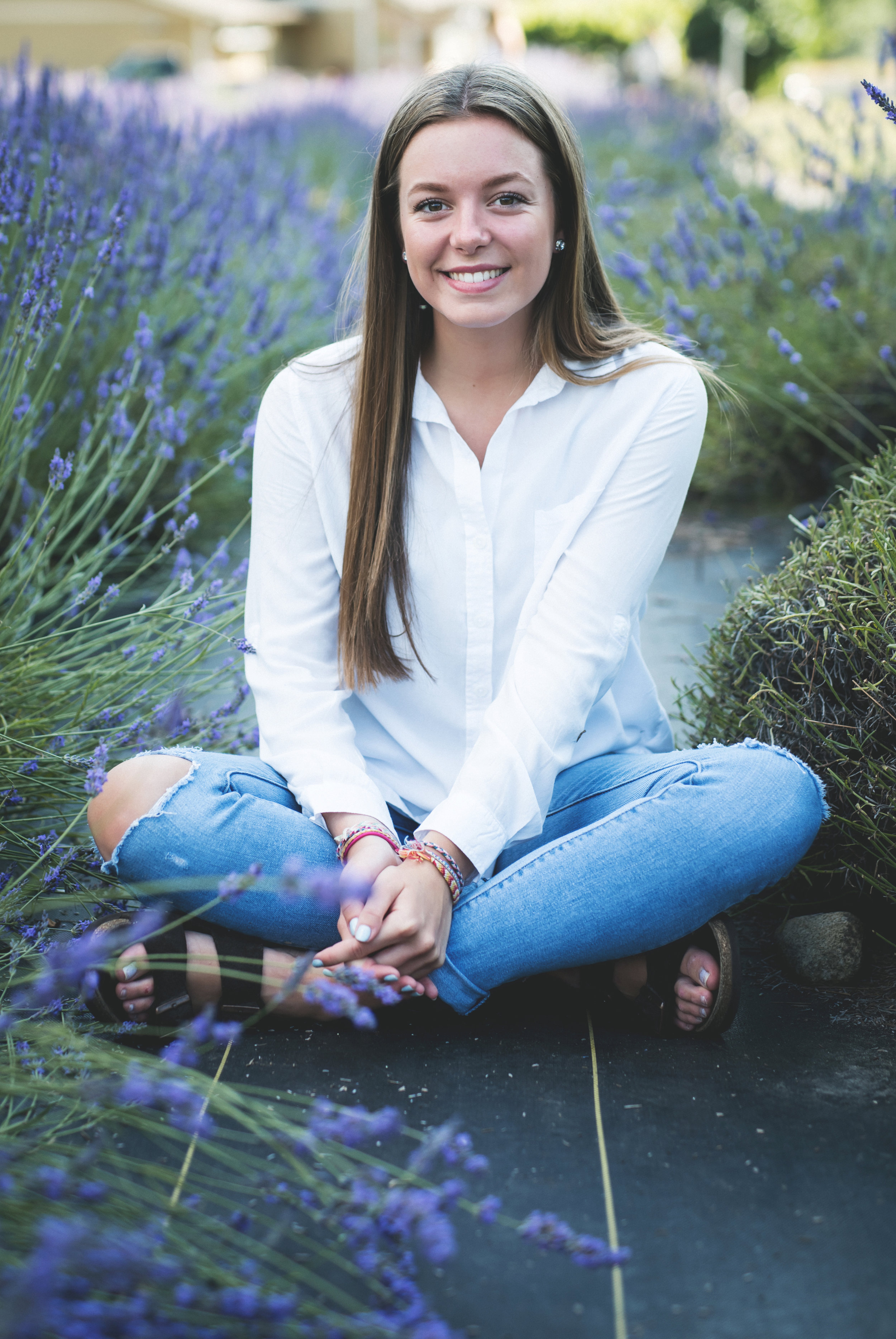 Kristin Grover Images. Lavender fields. Senior photos. Sarah senior model sitting