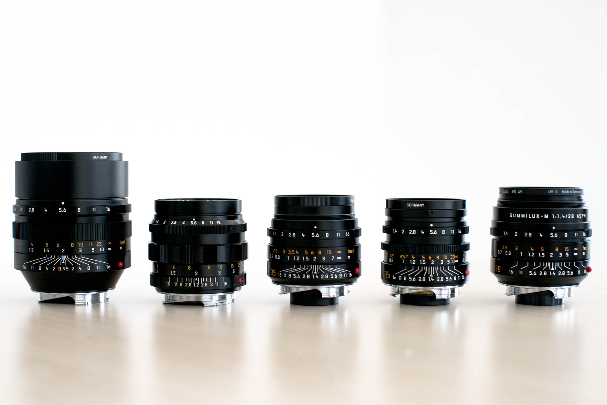 From Left to Right: Leica's 50mm f/0.95 Noctilux, 50mm f1.2 Noctilux, 35mm f/1.4 Summilux FLE, 35mm f1.4 Summilux AA, and 28mm f/1.4 Summilux