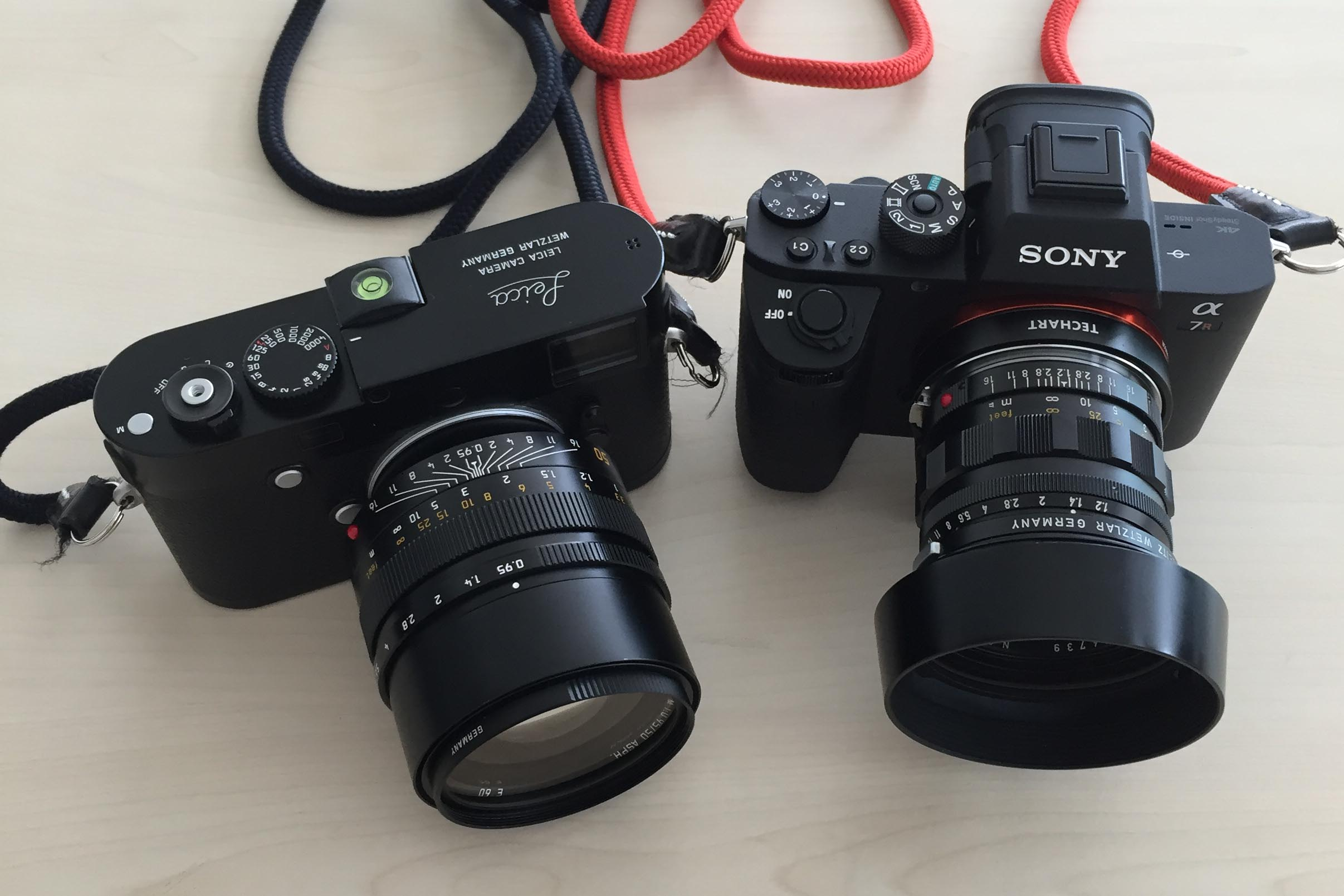 Left to Right: Leica MP240 + Leica 50mm f/0.95 Noctilux and Sony A7r MKII + Techart AF Adapter + Leica 50mm f/1.2 Noctilux