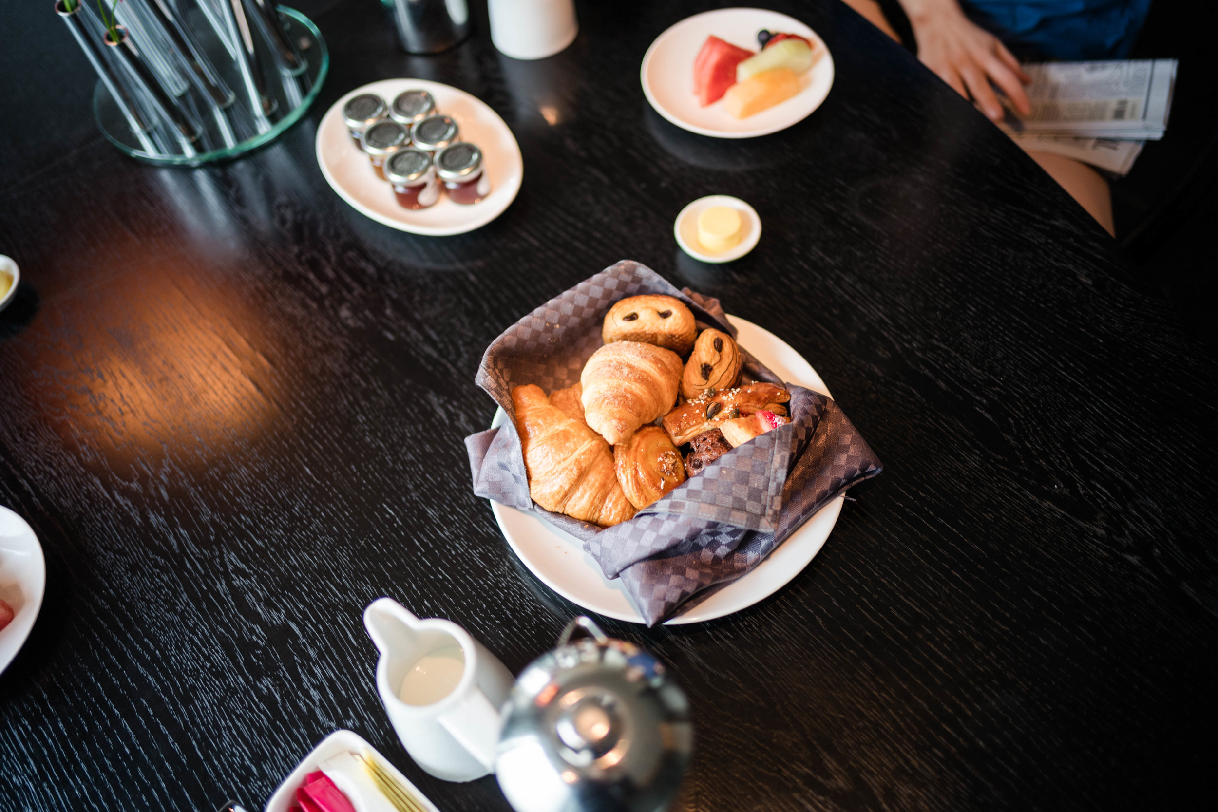 Continental breakfast basket of pastries. Leica 28mm f/1.4 Summilux