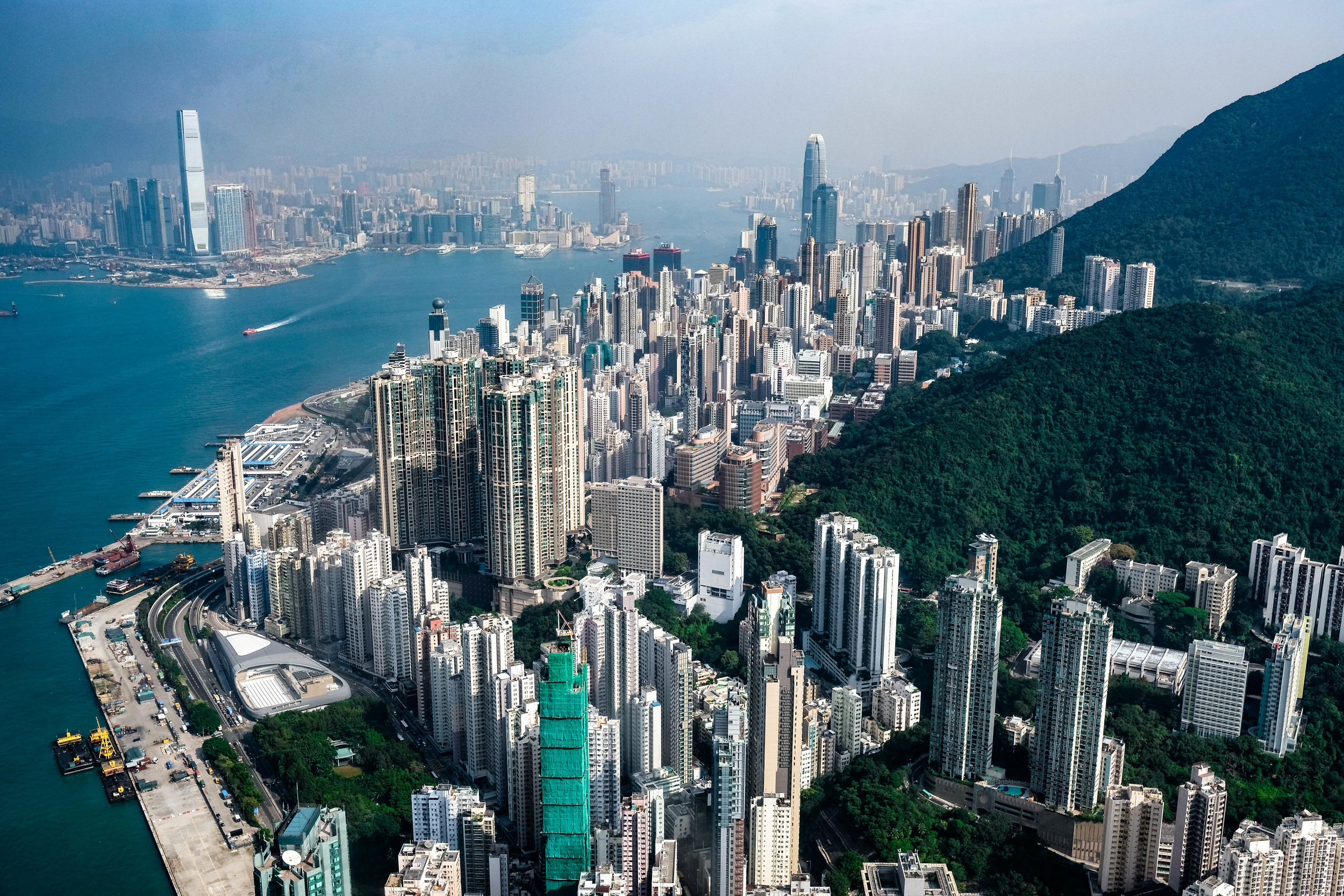 A view from the North West corner of Hong Kong Island.