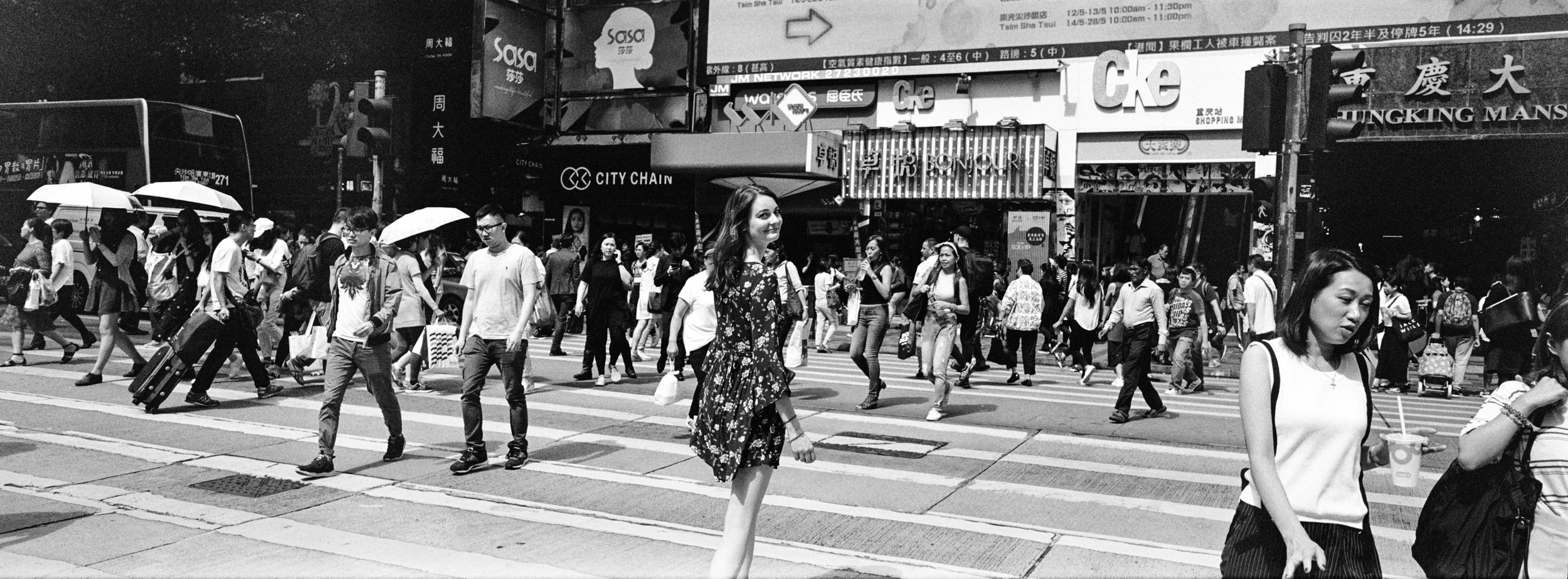 Crossing Nathan Road, Kowloon - Kodak Tri-X 400