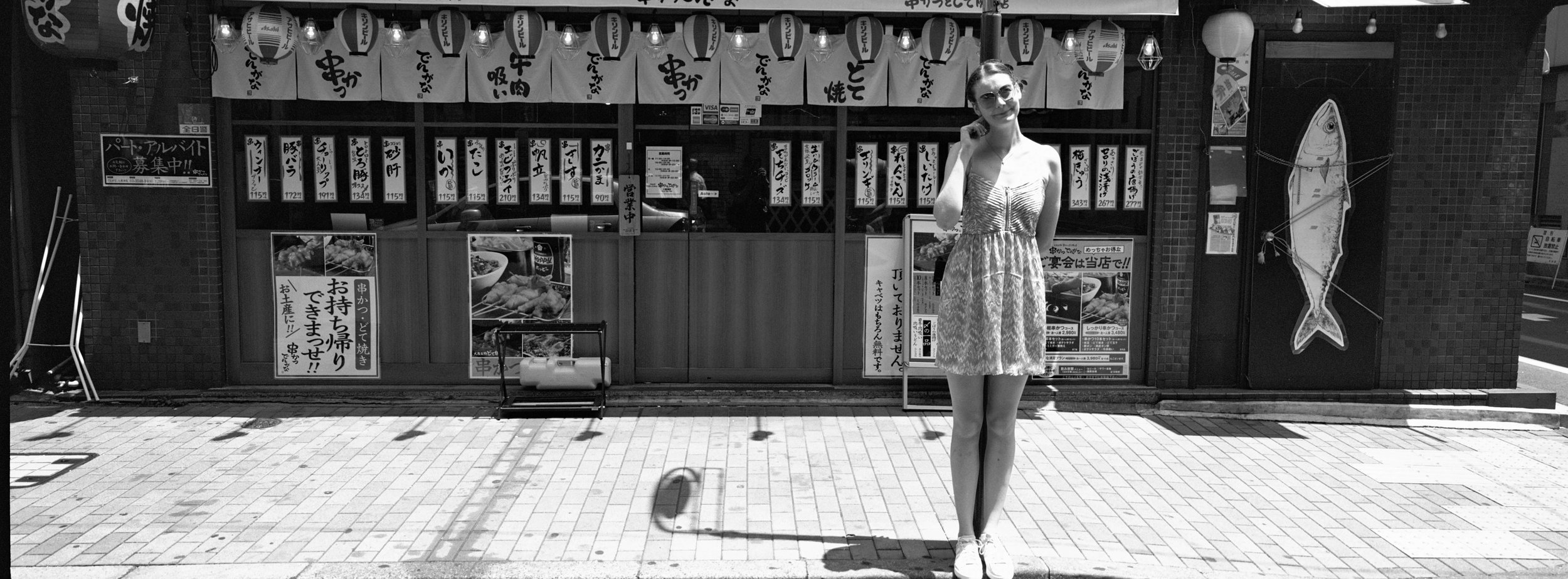 Outside a sushi establishment, at the Ginza - Ilford XP2 Super 400