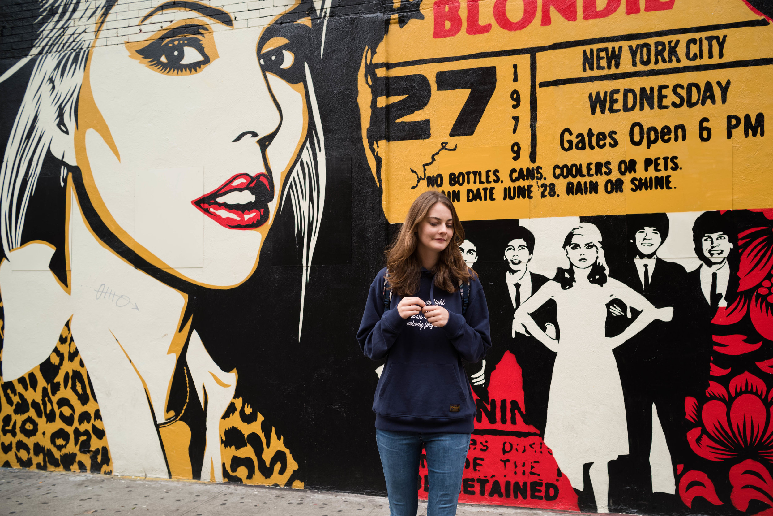 This wasn't here before. My new favorite mural in the city... at the Bowery across where the famed CBGB used to be. I ❤️ Debbie Harry and Blondie!