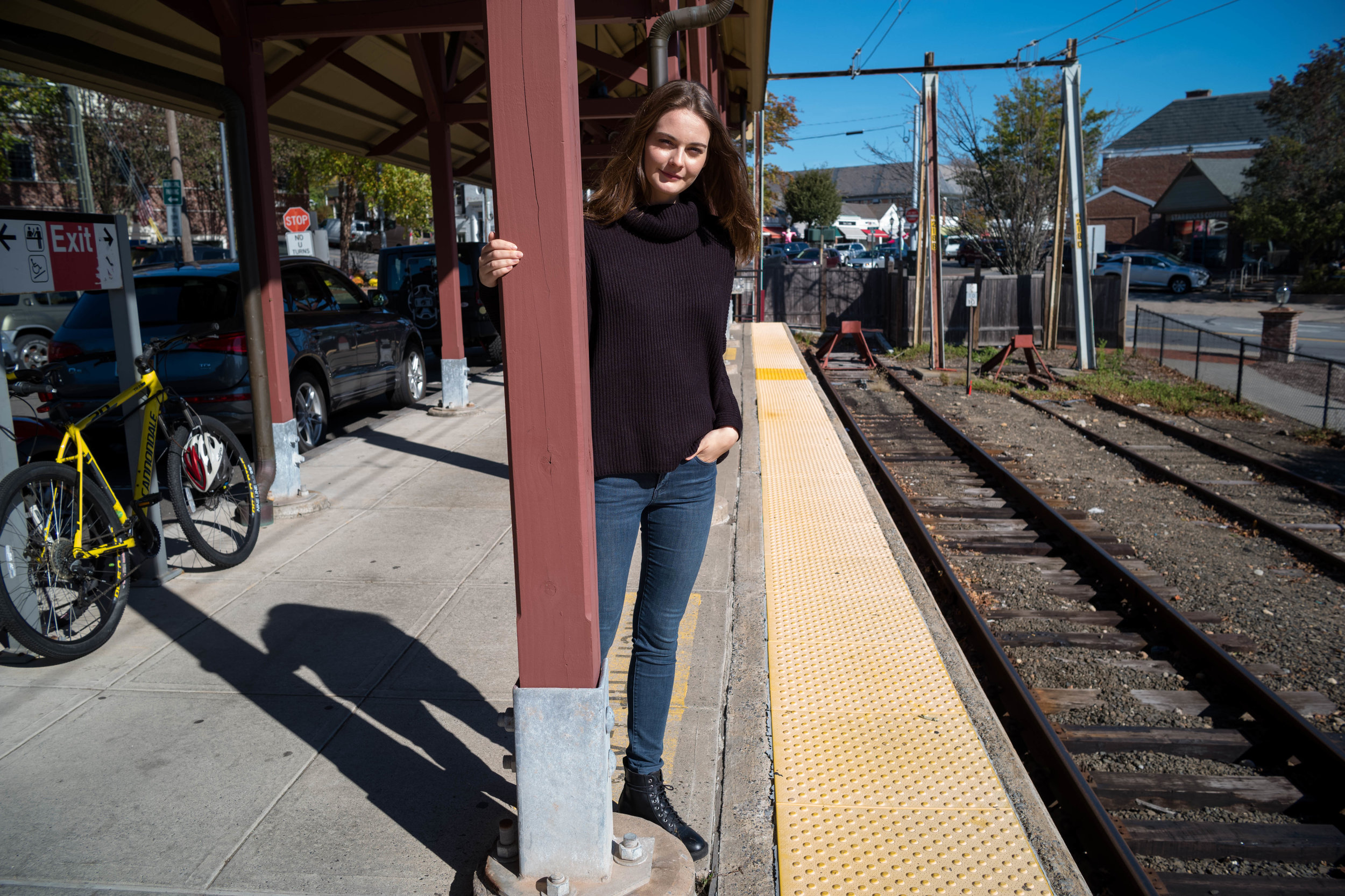 At the Train Station, New Canaan, Connecticut.