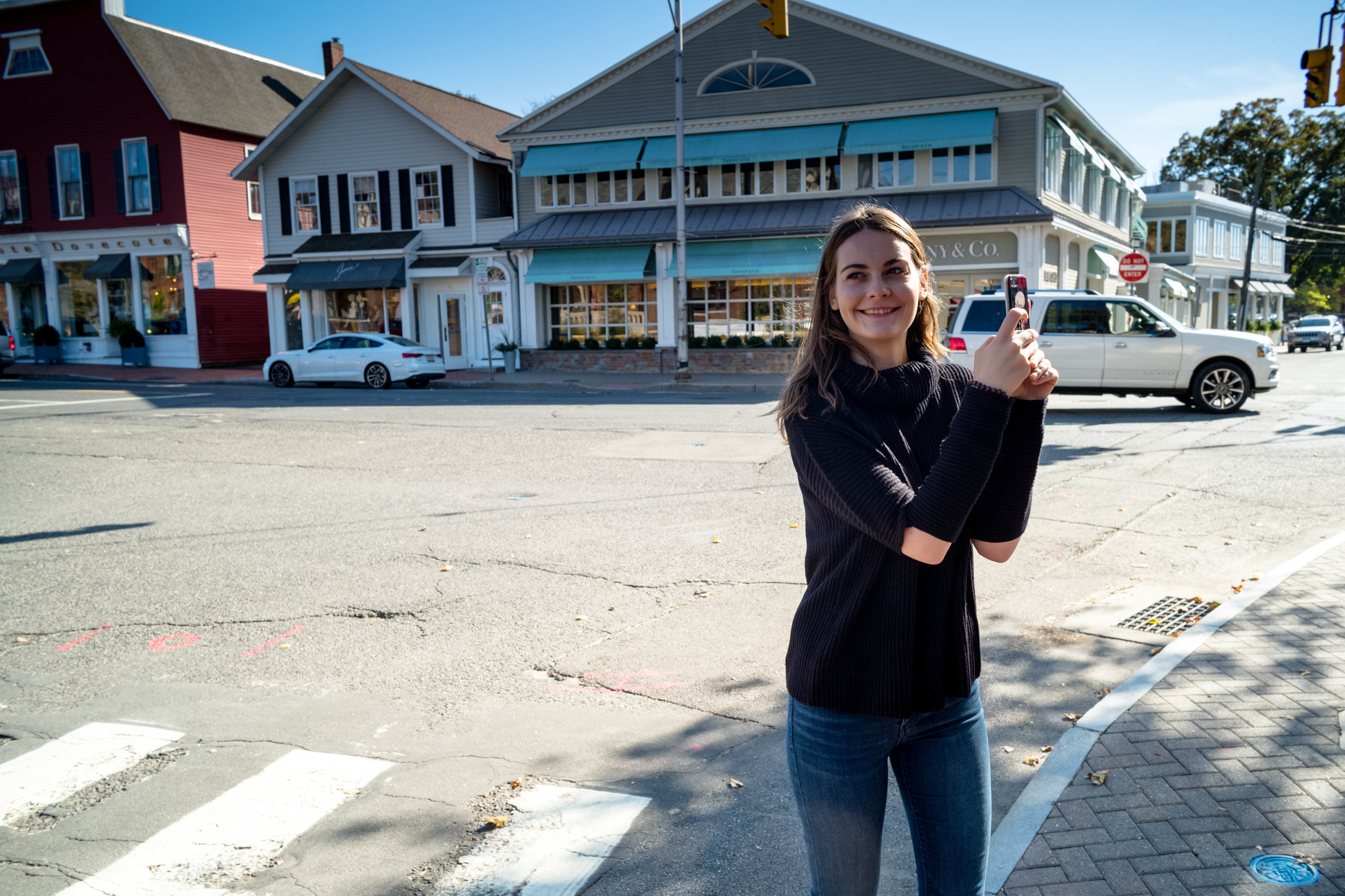 Taking a selfie on Post Road, Westport, Connecticut.