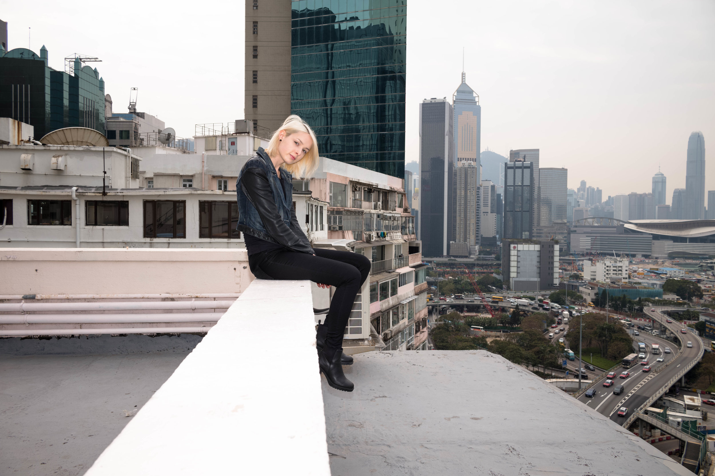 Sitting on the edge.