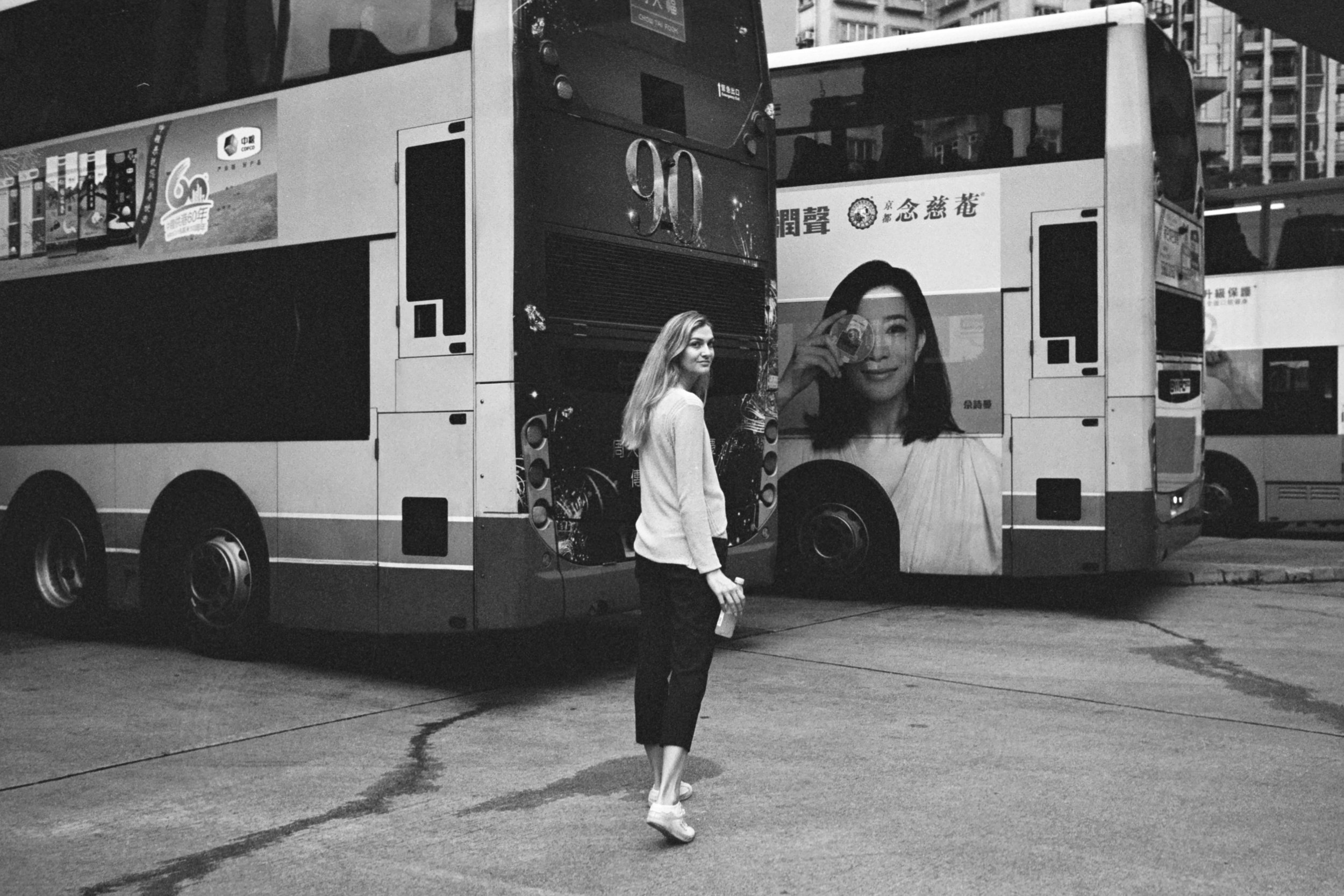 "Leica M6-J + Leica 35mm f/1.4 Summilux-M ""Steel Rim"" + JCH StreetPan 400 - Note - carelessness in haste made me miss the photobombing from the background poster on the bus. Nearing my two hour limit, my endurance is always stretched."