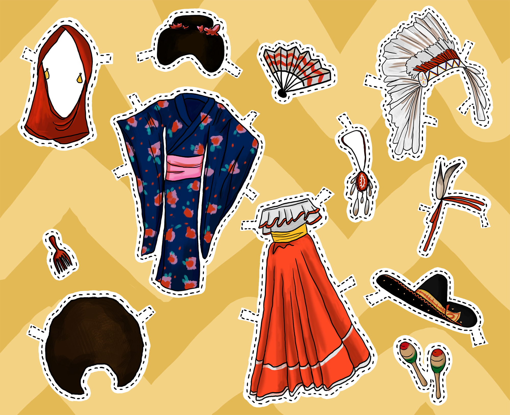 An illustration to accompany an article about cultural appropriation in Halloween costumes