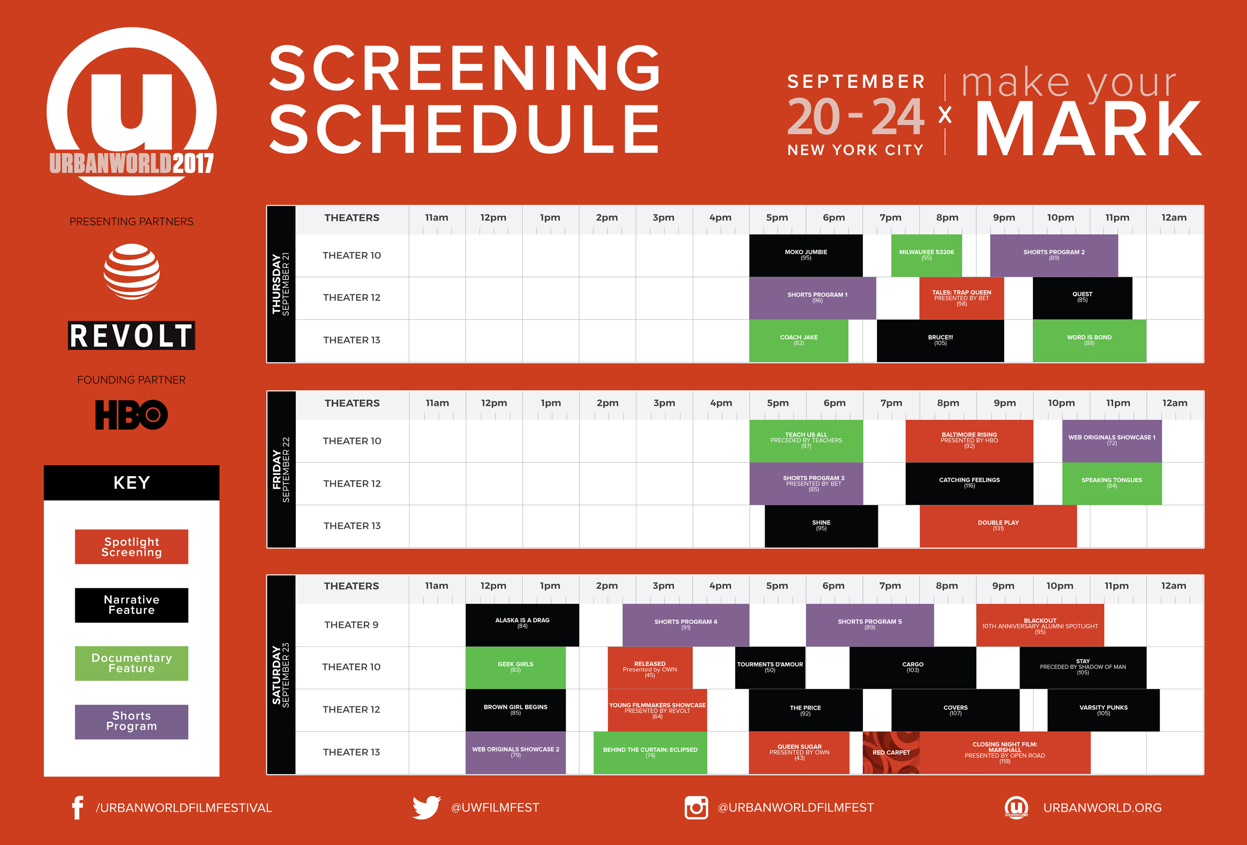 Click to view screening schedule or  download the PDF .