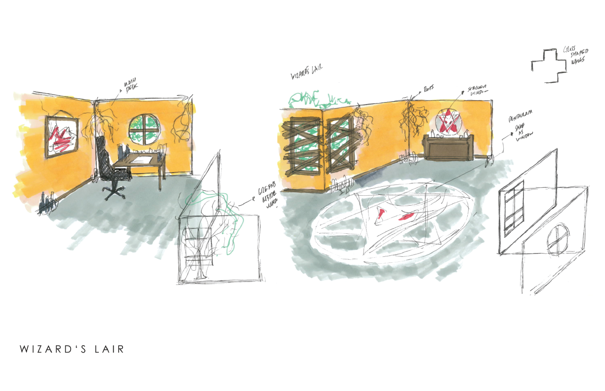 Rough sketches for the set, we had to create a  magician´s / wizard lab or lair
