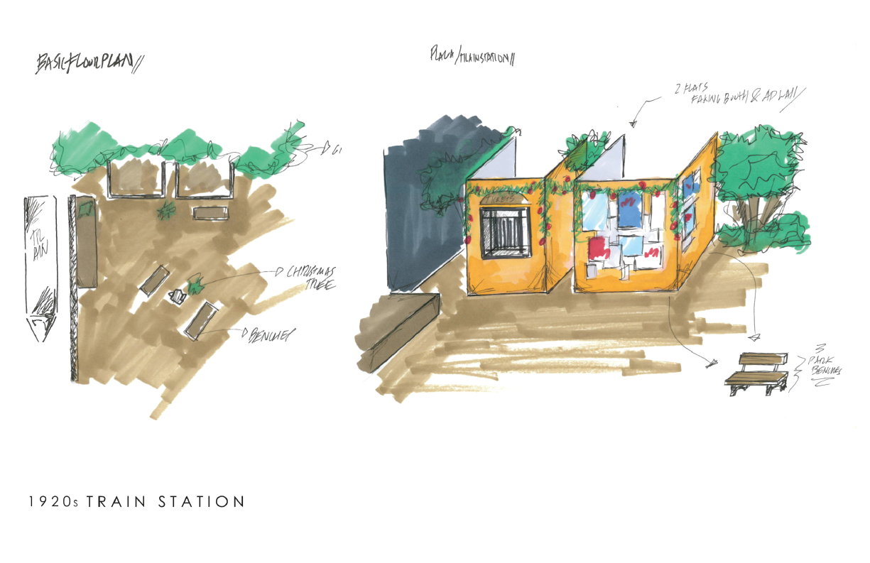 Same deal, rough sketches for the set, we had to create a  1920´s train station