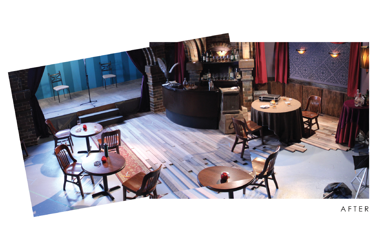 The set  ready  for actors