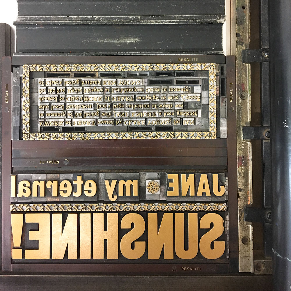 Type locked in the forme and inked-up