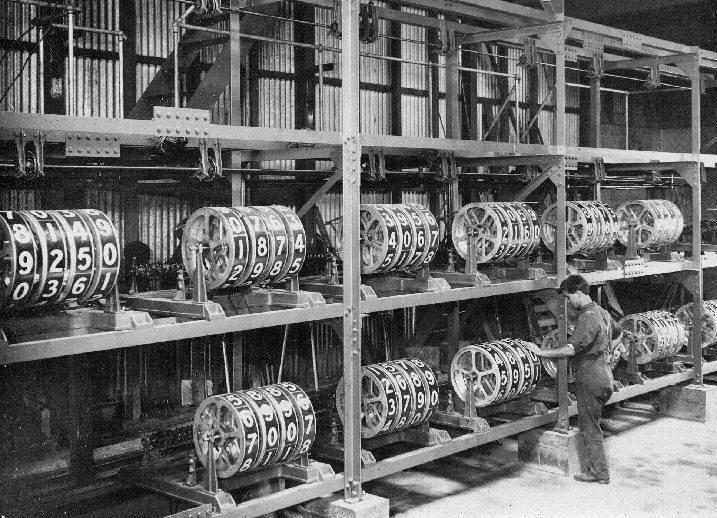 An early mechanical tote board. Source:  Hackaday