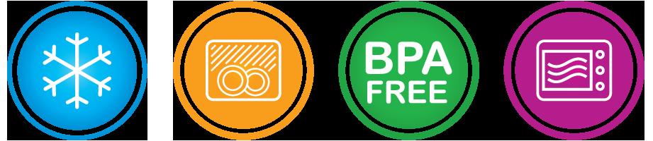 Freezer Safe · Dishwasher Safe · BPA Free ·Microwave Safe