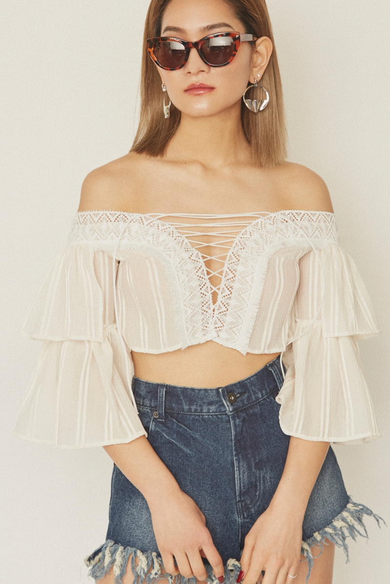 Off Shoulder Lace Up Tops White - Go online store→