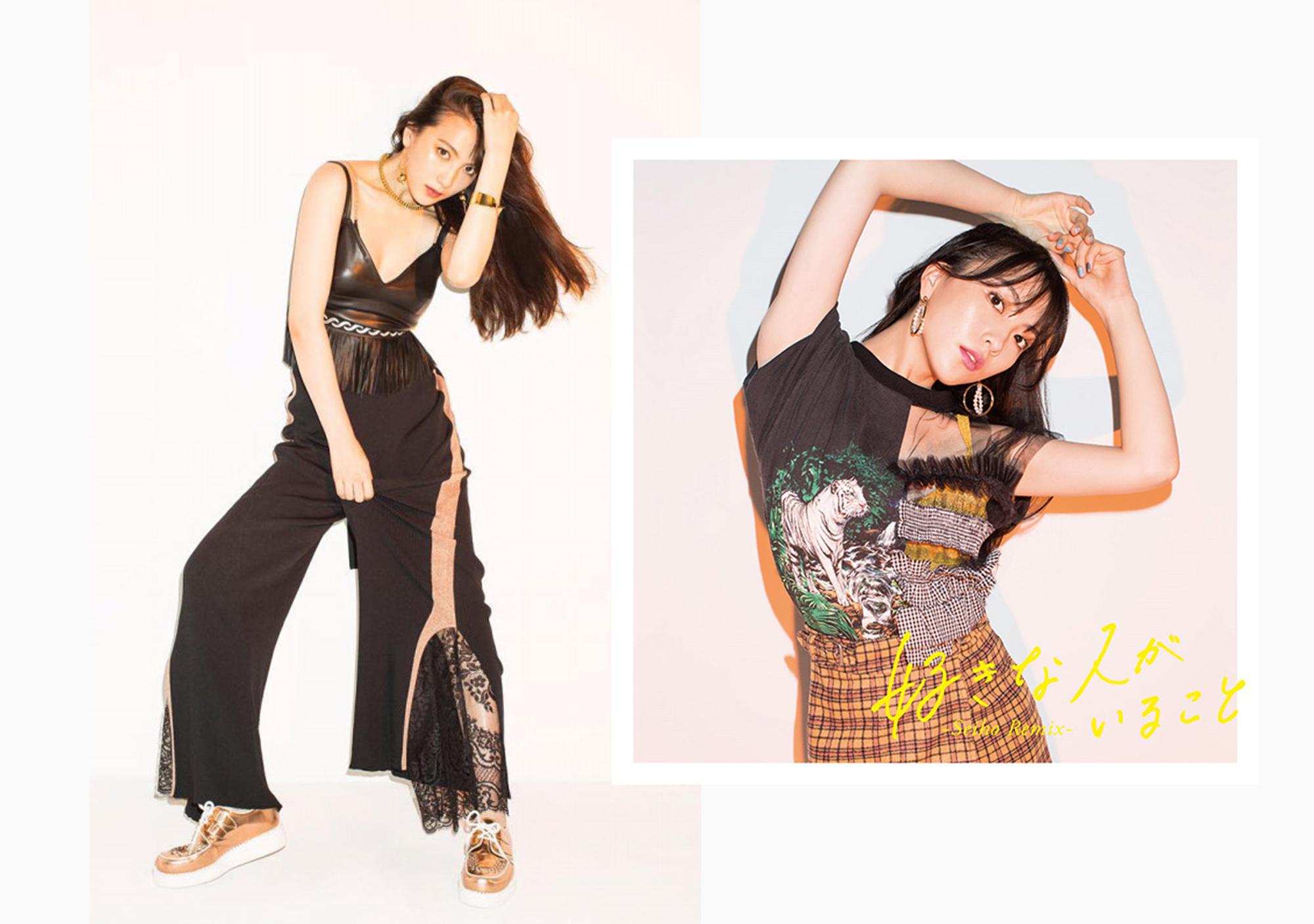 着用写真:左 ボトムス サイドラインスリットパンツ ブラック(完売商品)      右インナー SPARKLEビスチェ イエロー(完売商品)