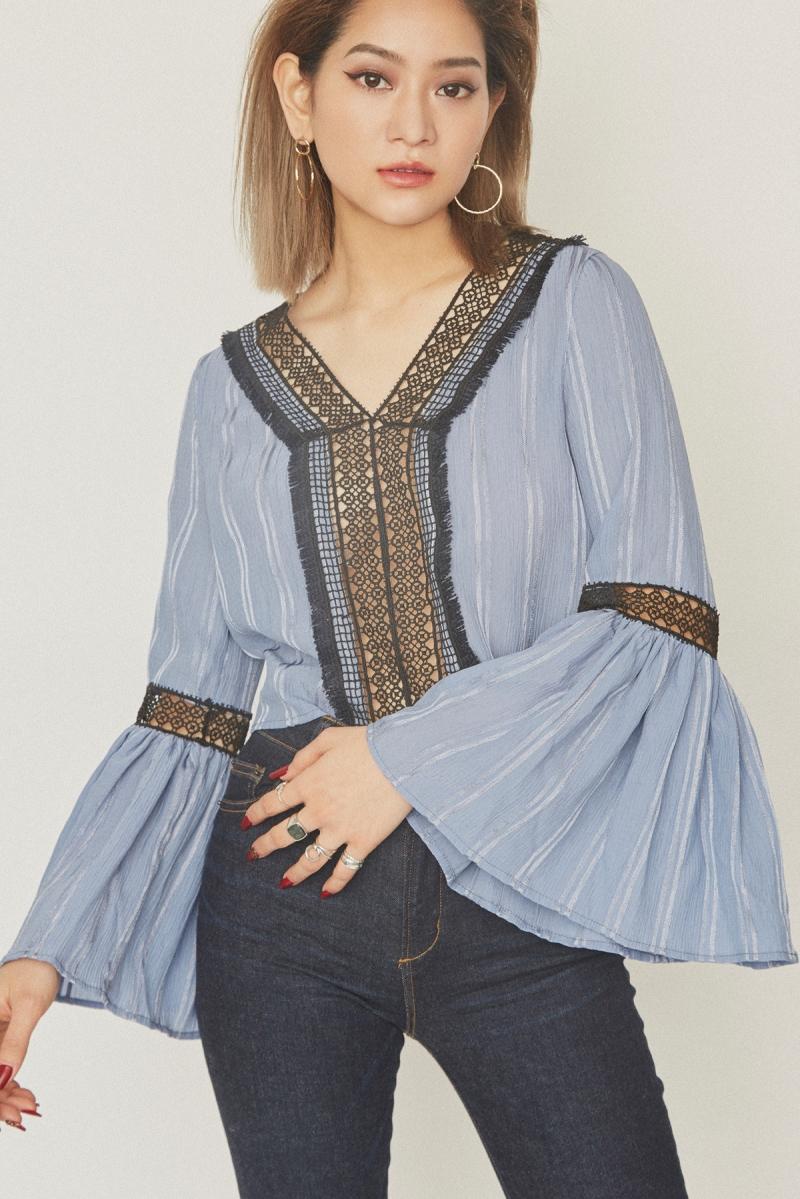 Flare Sleeve V-neck Blouse Blue - Go online store→
