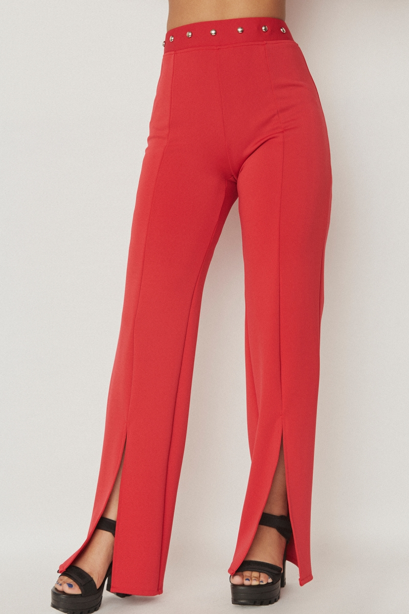 Studs Wide Pants Red - SOLD OUT