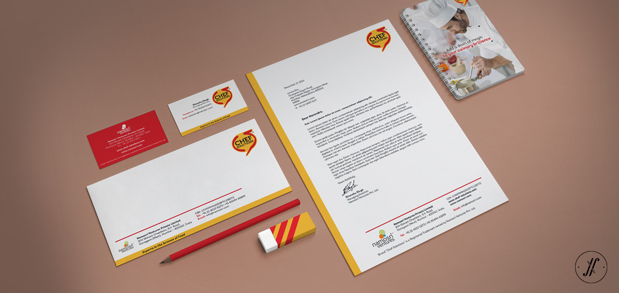 Yellow Fishes Brand Strategy and Design Agency Mumbai And Singapore Brand Identity Design and Packaging Design for Chef Solutions - Brand Identity Stationery Design