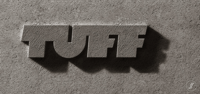 Yellow Fishes One of the best branding agencies in Mumbai, India & Singapore Brand Identity Logo Design for Godrej Construction - TUFF logo on wall