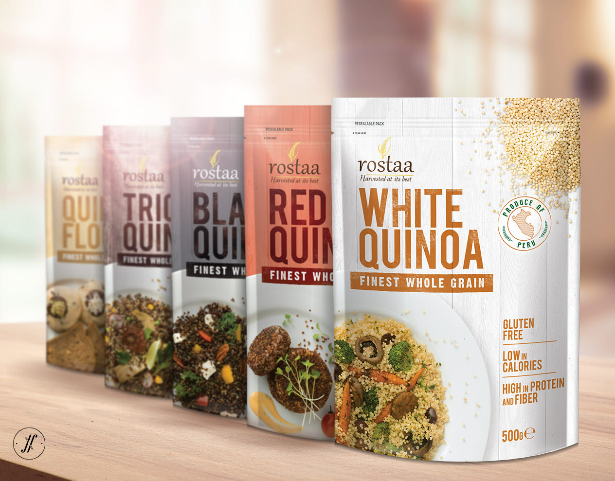 Yellow-Fishes-Best-Branding-Agency-Mumbai-India-Packaging-Design-Agency-Rostaa-Pacakging-Case-Study-Quinoa-all-range-design-on-table