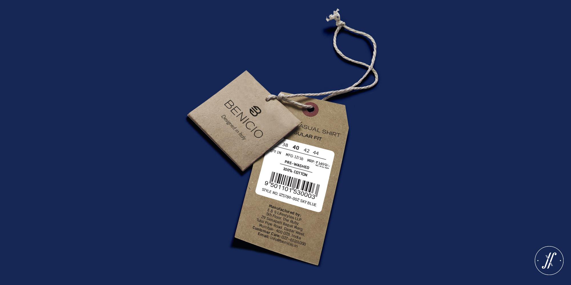 Yellow Fishes YF Branding Agency Mumbai India Menswear Brand Apparel Branding Agency Benicio Brand Shirt Tag Design