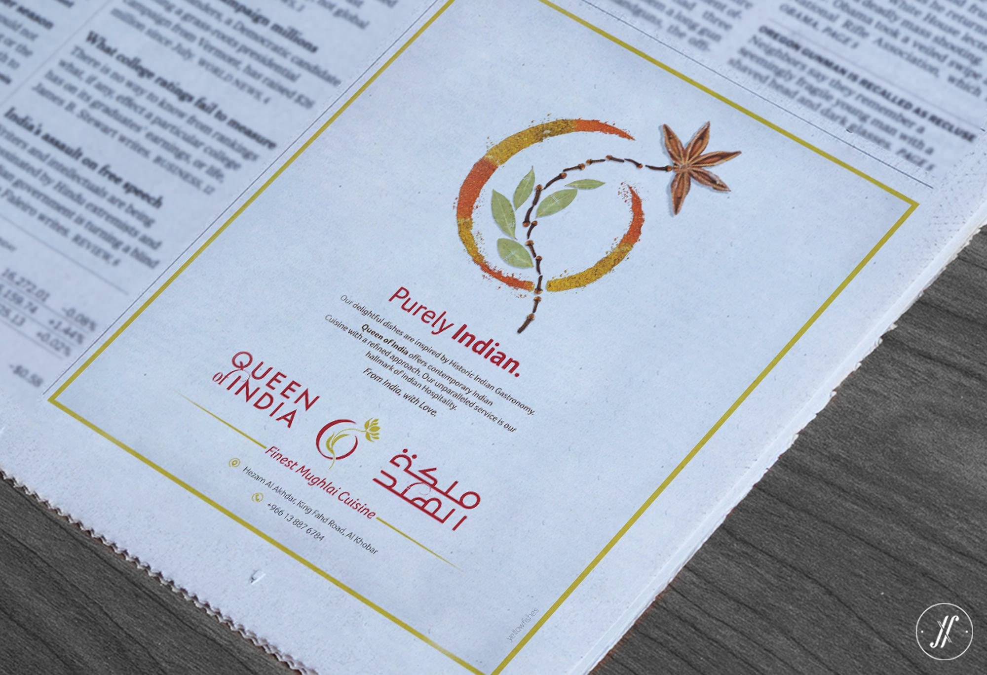 Yellow Fishes Branding Agency In Mumbai Queen of India Restaurant Branding design firm Saudi Arabia restaurant Branding print ad design newspaper ad design logo design.jpg