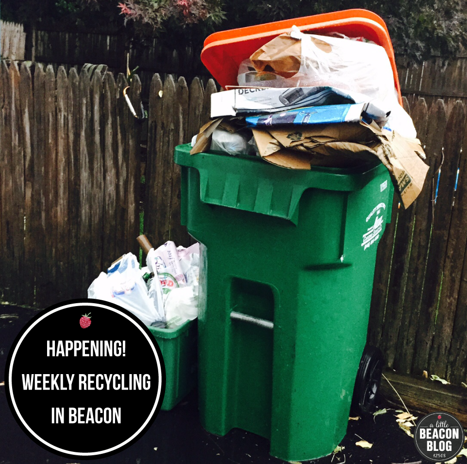 City of Beacon residents often have overflowing recycling cans. Hopefully that will be remedied by weekly recycling pickup, with more garbage going to the ReCommunity Beacon recycling rather than the landfill.