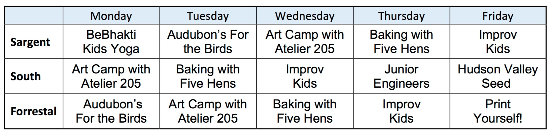 Please note that this schedule was taken from the City of Beacon's website on 8/2/16, and may have changed. Please see the website for  Beacon's After School Program  for the most up-to-date listing and details.